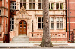 British style building facade Stock Photo