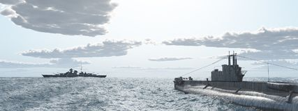 British Submarine And German Battleship Of World War II Royalty Free Stock Image