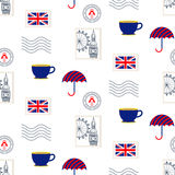 British symbols vector seamless pattern. Stock Images