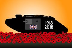 British tank, commemoration of the centenary of the great war. 1918 Royalty Free Stock Photography