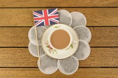 British Tea. A cup of tea with a union jack flag Stock Photography