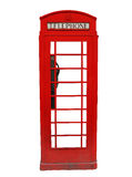 British Telephone Booth. Traditional red British telephone booth isolated on white background Royalty Free Stock Photo