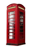 British telephone booth. Old british telephone booth isolated Royalty Free Stock Images