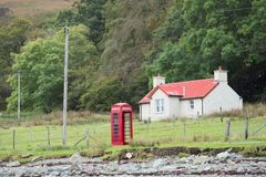 British Telephone Booth. In Rural Area Stock Photos