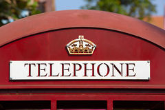 British telephone booth. Telephone Booth close up on words Royalty Free Stock Photos