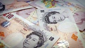 British Ten Pound Banknotes Rotating stock video