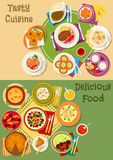 British, thai and finnish cuisine icon set design. British, thai and finnish cuisine icon with meat and rice pie, salmon, shrimp and ale soup, meatball, pork Royalty Free Stock Images