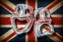 British Theatre. And English performing arts concept with an old flag of Britain on a comedy and tragedy mask representing the rich cultural tradition of Royalty Free Stock Images