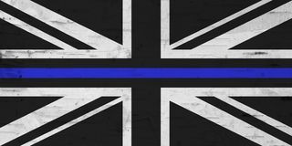 British thin blue line flag with grunge texture. For a law enforcement background stock images