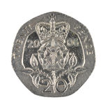 British Twenty Pence Coin Isolated on White. British twenty pence coin. Made from a cupronickel alloy this seven sided silver coin features a Tudor Rose and Stock Photos