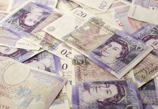 British Twenty Pound Note. Close-up of British Twenty Pound Note Showing The Queens Head Royalty Free Stock Photos