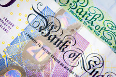 British Twenty Pound Note Close-UP. Twenty Pound Sterling Note and Five Pound Note Royalty Free Stock Photos