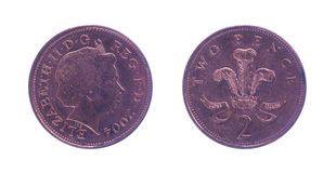 British two pence. Piece over a white background royalty free stock photography
