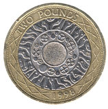 British Two Pound Coin (Back). British currency Two Pound Coin (Back royalty free stock photo