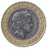 British Two Pound Coin (front). British currency Two Pound Coin (front royalty free stock photos