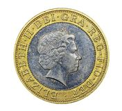 British two pound coin. With Queen Elizabeth's  profile Stock Photos