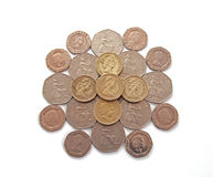 British, UK, coins. On a plain white background Royalty Free Stock Image