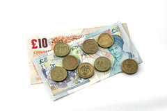 British (uk) currency. Close up of British currency, notes and coins Royalty Free Stock Photo