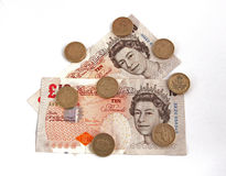 British (uk) currency. On a plain background Royalty Free Stock Photo