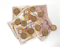 British (uk) currency. On a plain background Royalty Free Stock Image