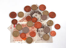 British (uk) currency. On a plain background Royalty Free Stock Photography