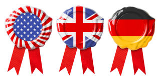 British UK, German and USA flags guarantee seals signets. British UK and USA guarantee seals with ribbons set Royalty Free Stock Photo