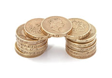 British, UK, pound coins. On a plain white background Stock Photos