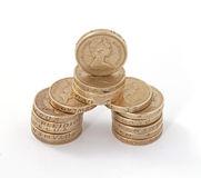 British, UK, pound coins. On a plain white background Royalty Free Stock Image