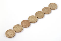 British, UK, pound coins. On a plain white background Royalty Free Stock Photography