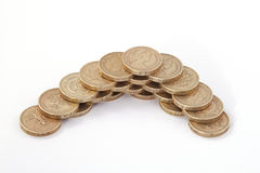 British, UK, pound coins. On a plain white background Royalty Free Stock Images