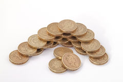 British, UK, pound coins. On a plain white background Royalty Free Stock Photos