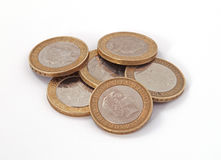 British, UK, two pound coins. On a plain white background Royalty Free Stock Images