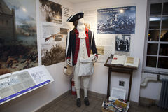 British uniform mannequin inside the Old Stone House Royalty Free Stock Images