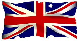 Damaged Union Jack. The British Union Flag, or Union Jackthat is damaged by cannon and musket  ball fire Royalty Free Stock Image