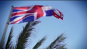 The British Union Jack flag blowing in the wind. stock video