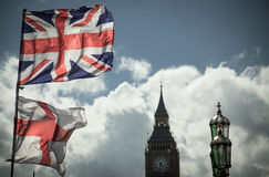 British Union Jack flag blowing in the wind. Royalty Free Stock Image
