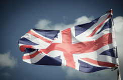 British Union Jack flag blowing in the wind. Stock Image