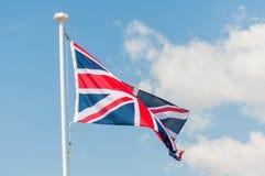 British Union Jack Flag Flying. The Union Jack flying in bright sunlight royalty free stock image