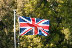 British Union Jack Flag Flying Royalty Free Stock Photo