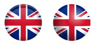 British Union Jack flag under 3d dome button and on glossy sphere / ball royalty free illustration