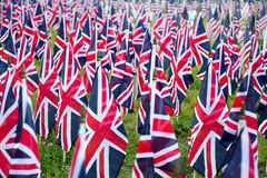 British United Kingdom UK Flags in a row with front focus and the further away symbols blurry with bokeh. The flags were set up on Stock Photo