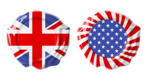 British and USA guarantee seals isolated Royalty Free Stock Image