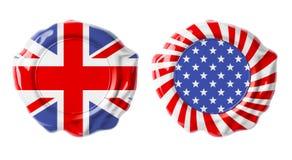 British and USA guarantee seals isolated Royalty Free Stock Image
