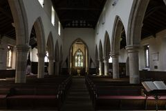 British village Church interior,view from the alter. View from the alter inside All Saints Church,Ripley,North Yorkshire,England,UK stock photography