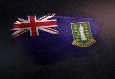 British Virgin Islands Flag Made of Metallic Brush Paint on Grunge Dark Wall.  stock image