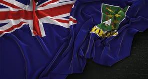 British Virgin Islands señalan por medio de una bandera arrugado en el fondo oscuro 3D Rende Fotos de archivo