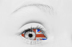 British vision. Close up of a young girls eye with the Union jack flag surrounding the eye, British vision concept Stock Images