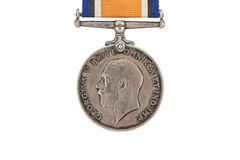 The British War Medal, 1914-18 with ribbon, silver vintage military medal (Squeak), obverse, world war one Royalty Free Stock Photo
