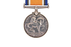 The British War Medal, 1914-18 with ribbon, silver vintage military medal (Squeak), reverse, world war one. Isolated on white background Stock Photography