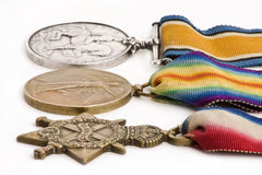 British war medals. 1914-15 Star, British War Medal and Victory Medal stock image